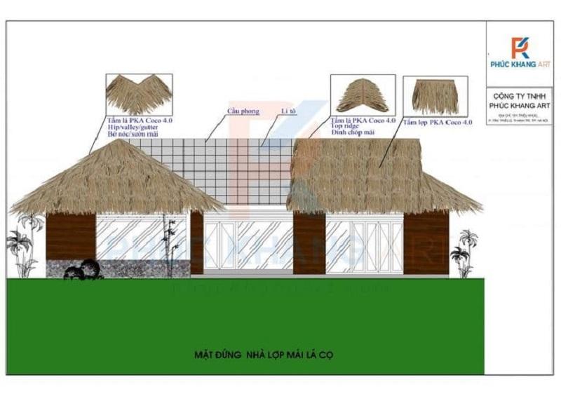 bản vẽ thiết kế mái nhà lá nhân tạo