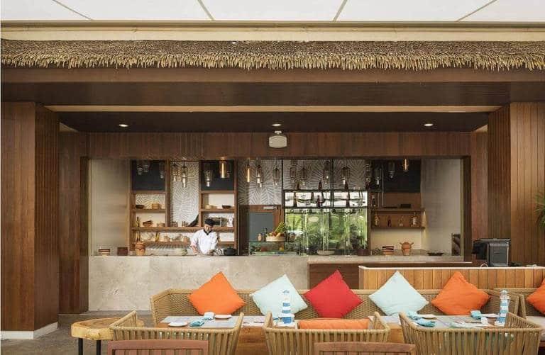 decor quán cafe bằng mái tranh nhân tạo